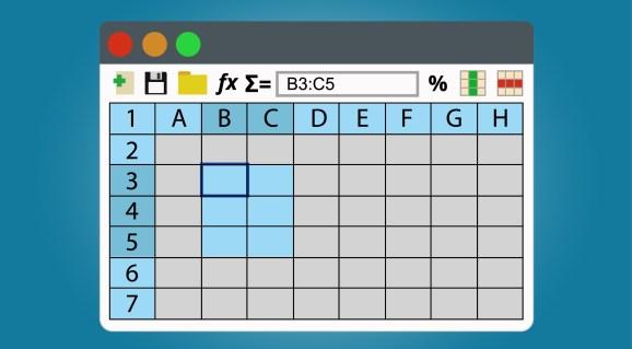 Spreadsheets program window.