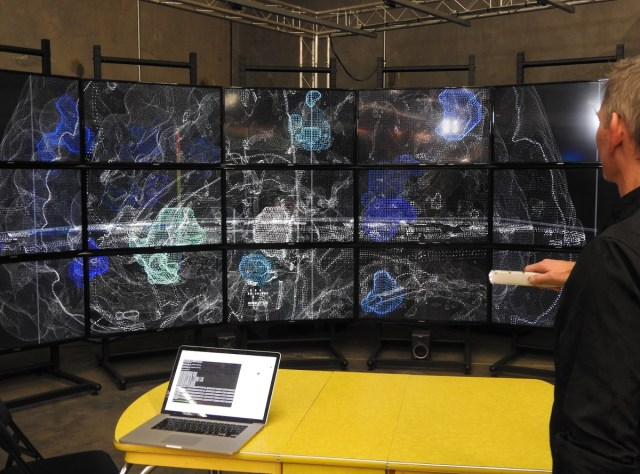 John Underkoffler shows off an immersion room display in May 2017.