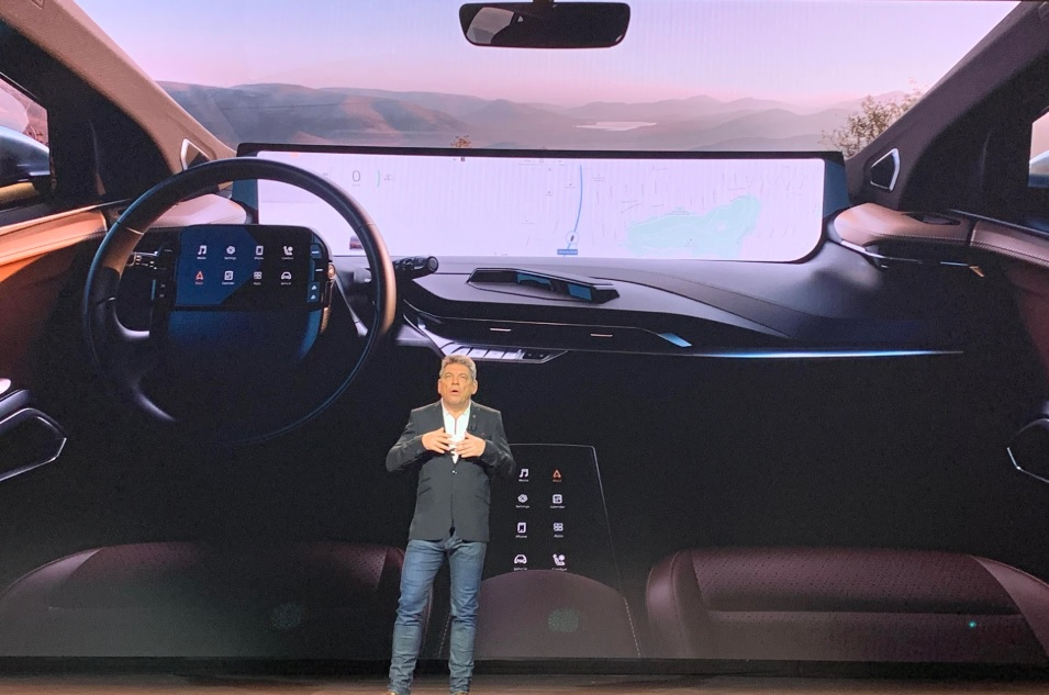 Carsten Breitfeld, CEO of Byton, shows off the car's 48-inch screen.