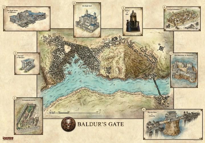 The city of Baldur's Gate in Murder in Baldur's Gate on the eve of The Sundering.