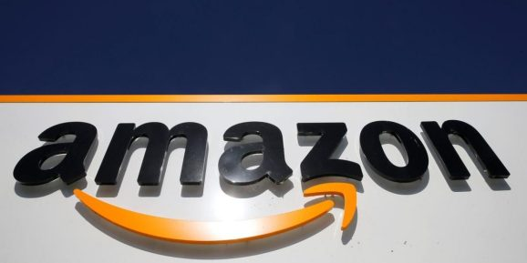 The Amazon logo at the company logistics centre in Boves, France, September 18, 2019.