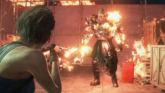 March sales were on fire, as illustrated in this Resident Evil 3 image where a walking virus man is on fire.