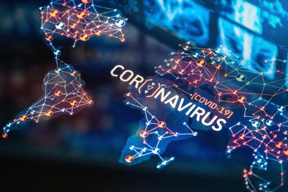 Coronavirus Outbreak on a World Map on a digital LCD Display