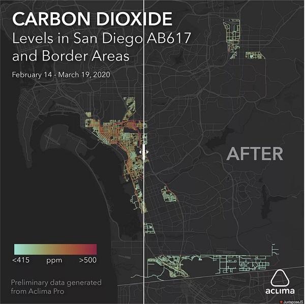 Η ρύπανση από διοξείδιο του άνθρακα μειώθηκε στο Σαν Ντιέγκο κατά τη διάρκεια του κλειδώματος.
