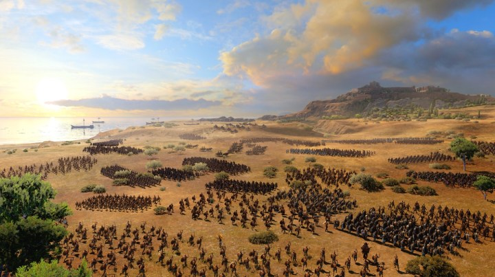 The Greeks spread out in an advance on Troy.