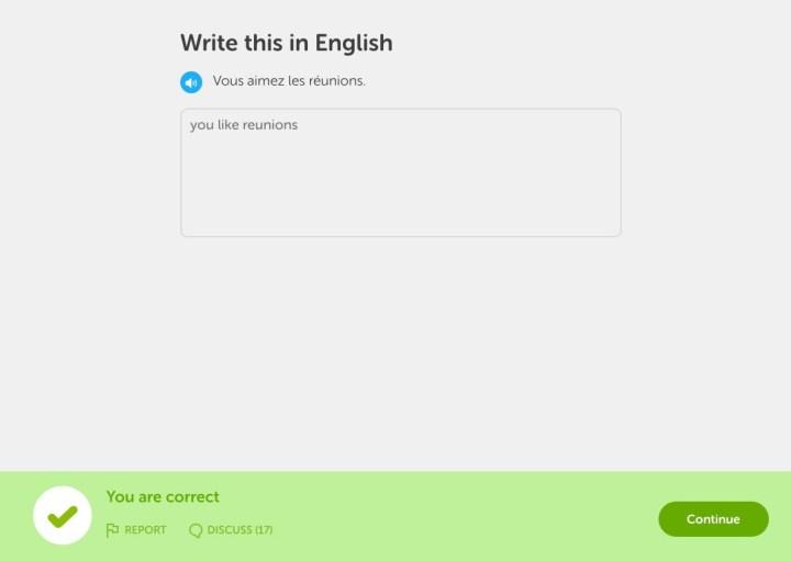 Duolingo right answer