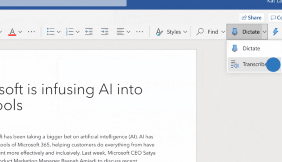 Microsoft Transcribe in Word