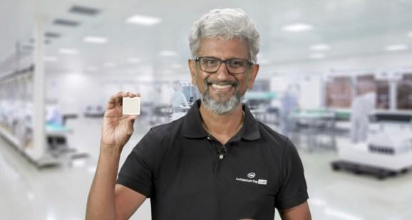 Intel chief architect Raja Koduri holds a Tiger Lake chip.