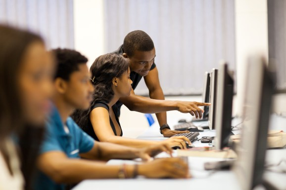 african american college students in computer room