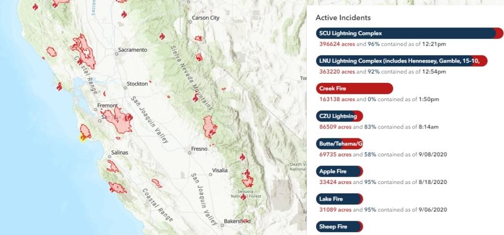 Οι πυρκαγιές στην Καλιφόρνια δημιούργησαν ένα δακτύλιο καπνού γύρω από το Bay Area.