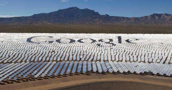 The Google logo is spelled out in heliostats (mirrors that track the sun and reflect the sunlight onto a central receiving point) during a tour of the Ivanpah Solar Electric Generating System in the Mojave Desert near the California-Nevada border February 13, 2014.