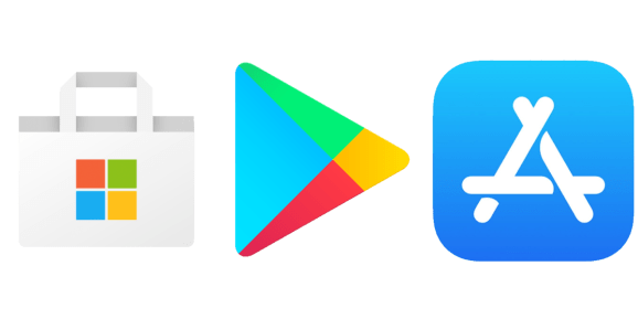 Microsoft Store Google Play Store Apple App Store logos