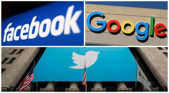 Facebook, Google and Twitter logos are seen in this combination photo from Reuters files.