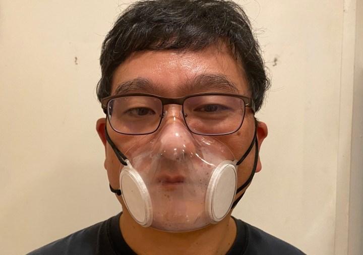 Dean Takahashi wears a 3D-printed mask.