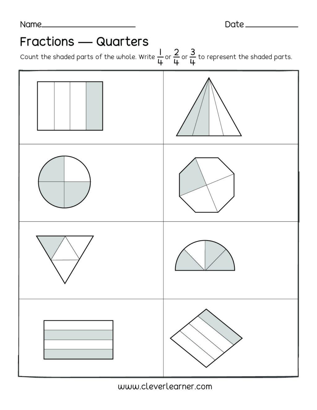 2nd Grade Fractions Worksheet