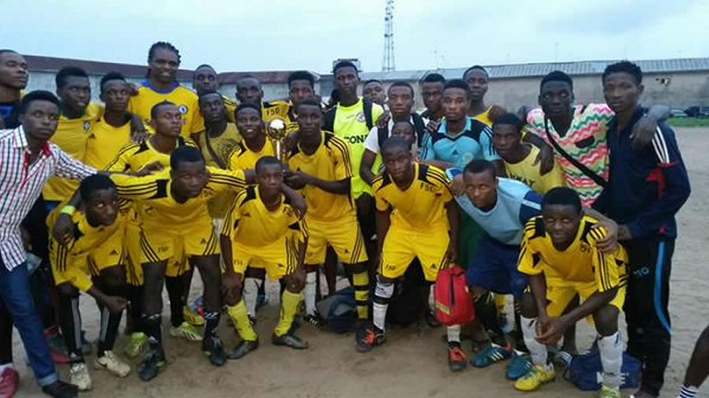 Students of Papilo football academy with founder Nwankwo Kanu Credit - AGF