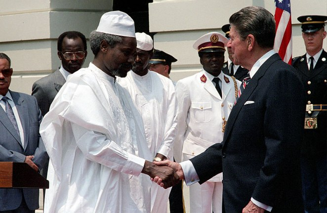 """Hissène Habré meets with Ronald Reagan at the White House in June 1987. The two got along """"dandily,"""" said John Propst Blane, former U.S. ambassador to Chad, in an oral history."""