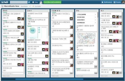 매크로 스튜디오는 개발 이슈가 있을 경우 'Trello'라는 커뮤니케이션 툴을 적극 활용한다고 한다.