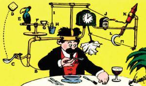 Rube Goldberg's automatic face wiping machine