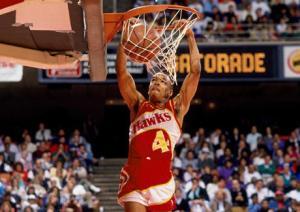 5 foot, 7 inch Spud Webb, slam dunk champion!