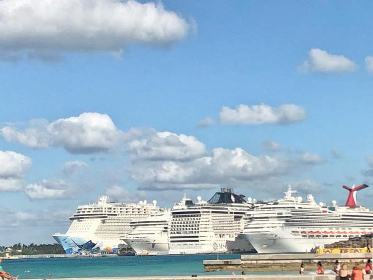 Cruise ships In Port At Nassau Bahamas