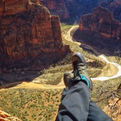 Looking down into refrigerator canyon from Angels Landing in Zion National Park