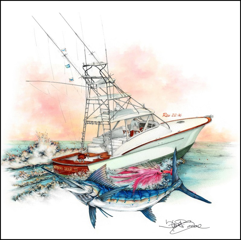 """Private Commission of the """"Morning Sun III"""", Fly-fishing Billfish Team"""