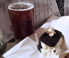 The Winning Pairing - Portside pub bacon ice cream sandwich paired with a perfect desser beer named Satyt Scot