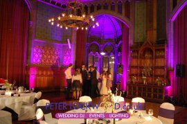 Pink and Purple mood lighting in manchester town hal