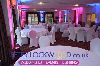 Pink and Blue uplighting in the Towneley suite