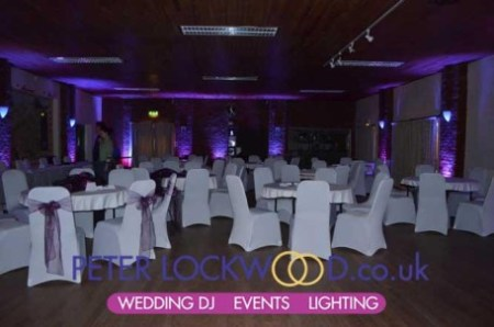 Purple mood lighting in Antrobus Village Hall Cheshire