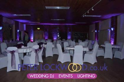 Purple mood lighting in Antrobus Village Hall Cheshire