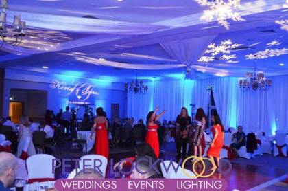 Kilhey-Court-Hotel-winter-wonderland-blue-wedding-lighting-with-projected-snowflakes