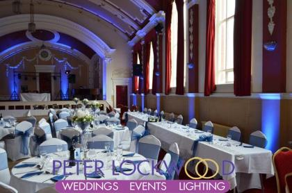 blue wedding lighting at chadderton town hall