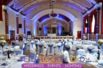 blue wedding lighting hire at chadderton town hall