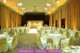 gold asian wedding lighting