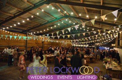 festoon lighting in a barn