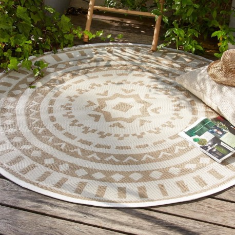 tapis rond rosace en plastique d150cm lin veo shop