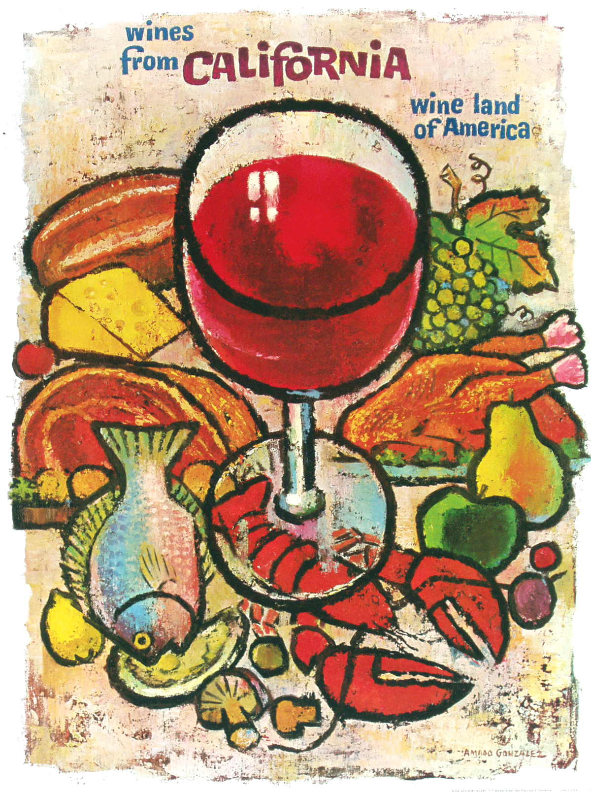 vintage posters for kitchen christmas rugs a california wine land in european