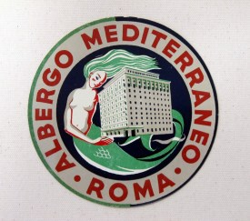 """Albergo Mediterranean Label"" c. 1930, 13.5 x 10.25 (inches) $380 metallic wood frame"