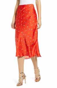 LEITH Satin Midi Skirt, Main, color, RED DITSY PRINT