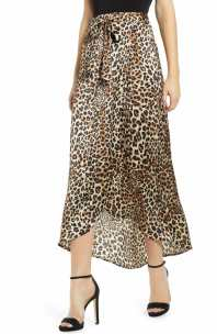 KNOW ONE CARES Leopard Print Maxi Skirt, Main, color, LEOPARD