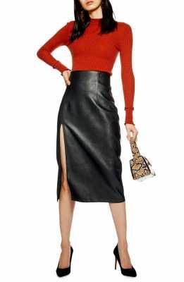 TOPSHOP Faux Leather Pencil Skirt, Main, color, BLACK