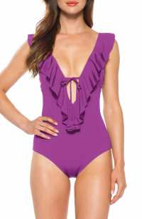 BECCA Socialite Ruffle One-Piece Swimsuit, Main, color, DAHLIA