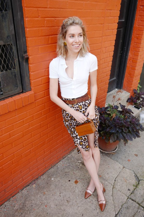 leopard midi skirt outfit