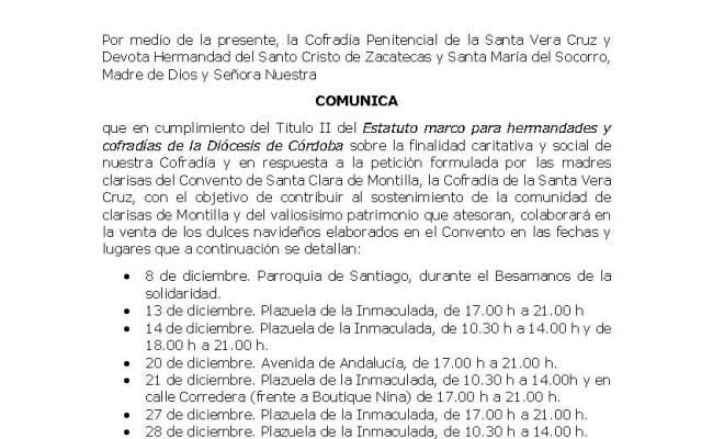 La Cofradía de la Vera Cruz vuelve a colaborar en la venta de dulces navideños del Convento de Santa Clara