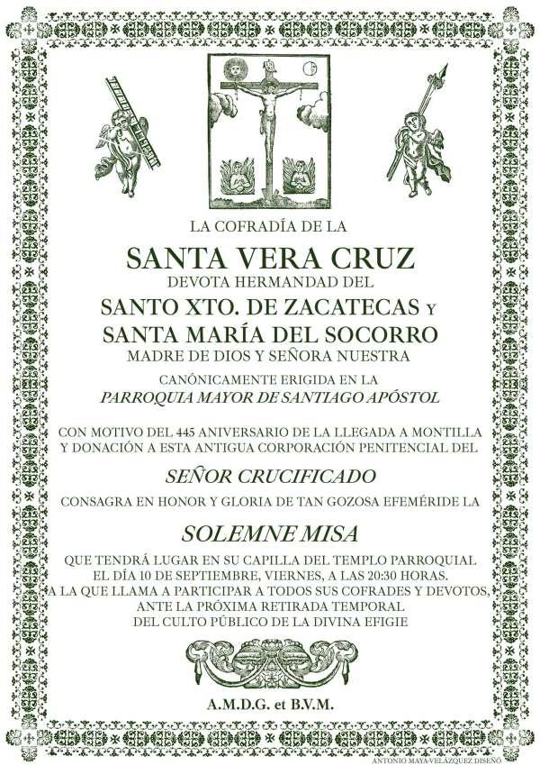 Solemne misa con motivo del 445º aniversario del Santo Cristo de Zacatecas