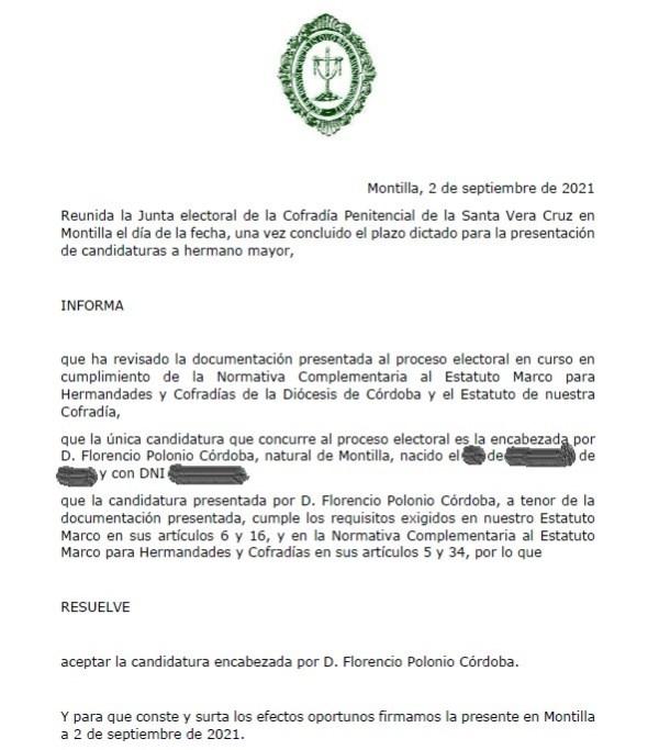 D. Florencio Polonio encabeza la única candidatura presentada a las elecciones de la Vera Cruz