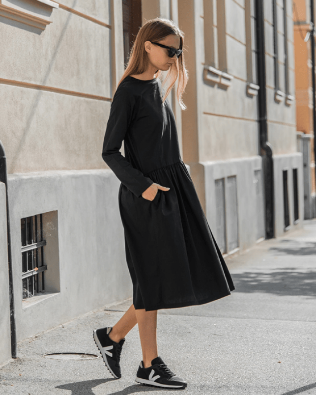 mila.vert frilled dress all black fit with black sneakers