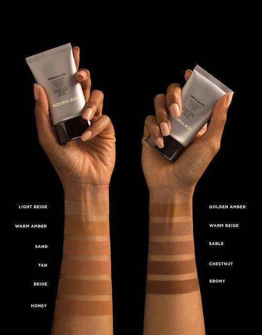 HOURGLASS Imacculate Liquid Powder foundation - makeup sustainable brand presents its light beige to ebony shades range in two arms